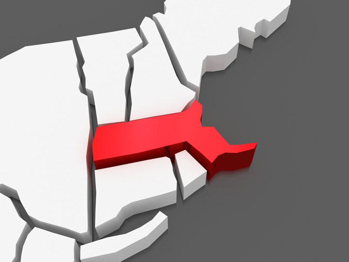 3d Massachusetts map